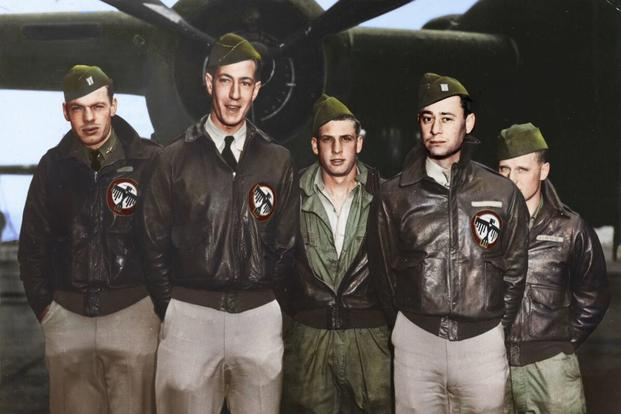 Crew 16: Lt. George Barr, navigator; Lt. William G. Farrow, pilot; Sgt. Harold A. Spatz, engineer/gunner; Lt. Robert L. Hite, copilot; Cpl. Jacob DeShazer, bombardier. (Colorized image © copyright 2017 Lori Lang, LBL Graphic Design)