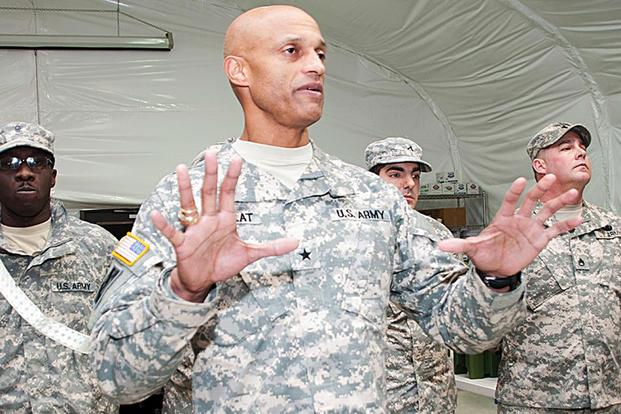 Then-Army Brig. Gen. Francisco Espaillat at Joint Base McGuire-Dix-Lakehurst, N.J., Jan. 15, 2015. Espaillat was promoted to major general two weeks before his death on April 7, 2017. 321st Sustainment Brigade photo