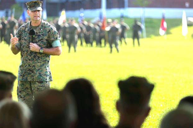 Col. Daniel P. O'Hora speaks at Camp Lejeune on Sept. 9, 2016, the day he assumed command of the Marine Corps Engineer School. (US Marine Corps photo)