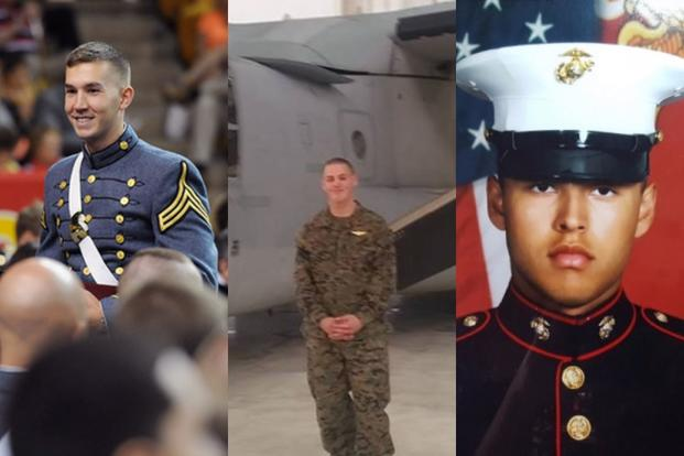 1st Lt. Benjamin Cross, 26, Cpl. Nathaniel Ordway, 21, and Pfc. Ruben Velasco, 19, died in the Aug. 5, 2017, Osprey crash off Australia. (Photos courtesy VMI, Facebook and gofundme.com)