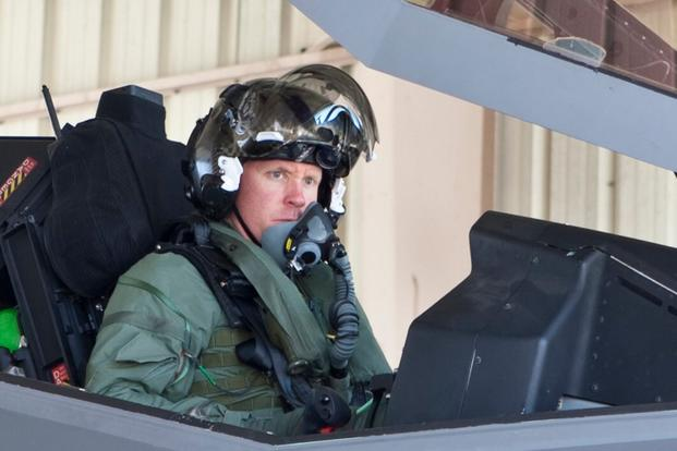 Eric Schultz, then an Air Force captain, became the 28th pilot to fly the F-35 when he took off from Edwards Air Force Base, Calif., in F-35A AF-1 for a 1.3-hour test mission on 15 September 2011. (Lockheed Martin Photo by Darin Russell)