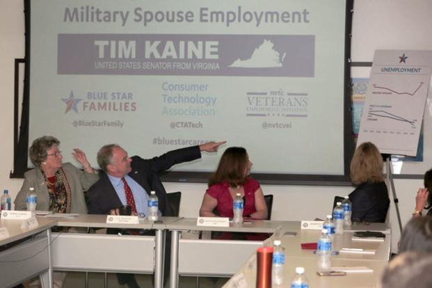 Sen. Tim Kaine, D-Va., attends an event on military spouse employment Oct. 23, 2017, in Arlington, Va. (Photo courtesy Blue Star Families)