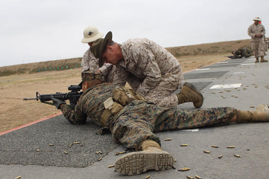 Marine basic training rifle marksmanship.