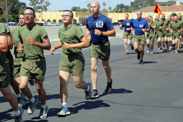 Pvt. Jose A. Caban running in basic for the Marines.