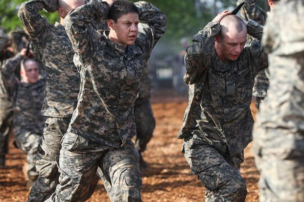 U.S. Army Soldiers conduct combatives training during the Ranger Course on Ft. Benning, GA., April 20, 2015. Soldiers attend Ranger school to learn additional leadership and small unit technical skills. (U.S. Army/Pfc. Antonio Lewis/Released)
