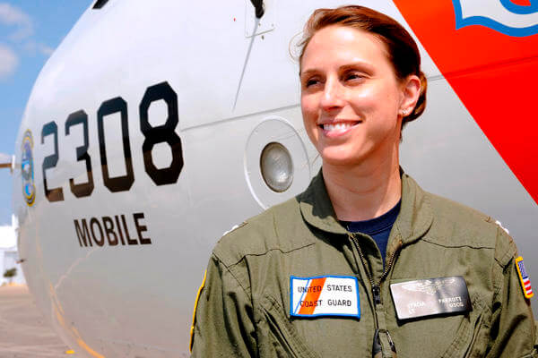 Female Coast Guard servicemember.