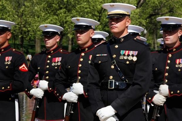 Marines at attention.
