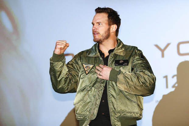 SAN DIEGO, CA - DECEMBER 12: Actor Chris Pratt on stage at Marine Corps Air Station Miramar on December 12, 2016 in San Diego, California.