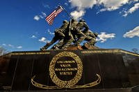 "The names of the Iraq and Afghanistan wars have been engraved on the U.S. Marine Corps War Memorial -- the ""Iwo Jima Memorial"" -- in Arlington, Va. (US Marine Corps photo)"