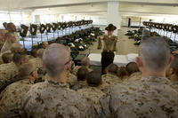 U.S. Marine Corps Sgt. Brandon J. Hendrix, a drill instructor, speaks to recruits aboard Marine Corps Recruit Depot San Diego, March 18, 2016. (U.S. Marine Corps photo/Erick J. ClarosVillalta)