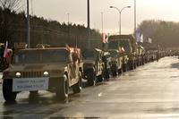 3rd Armored Brigade Combat Team, 4th Infantry Division stages their vehicles after crossing into Poland from Germany after conducting a three-day convoy, Jan. 12, 2017. (U.S. Army/Staff Sgt. Elizabeth Tarr)