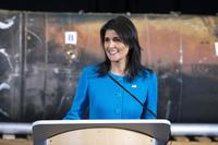 U.S. Ambassador to the United Nations Nikki Haley speaks about evidence of Iran's destabilizing activities in the Middle East at Joint Base Anacostia-Boling Dec. 14, 2017. (DoD/EJ Hersom)