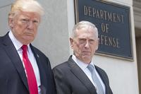 FILE -- Secretary of Defense Jim Mattis and President Donald Trump at the Pentagon following a meeting of the National Security Council in Washington, D.C., July 20, 2017. (DOD/U.S. Navy Petty Officer 2nd Class Dominique A. Pineiro)