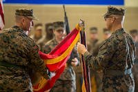 U.S. Marines with 11th Marine Regiment rededicate the regimental ribbons during a centennial ceremony at Marine Corps Base Camp Pendleton, Calif., Jan. 9, 2018. The ceremony was held to commemorate 100 years of the Regiment's history. (U.S. Marine Corps photo/Lance Cpl. Rhita Daniel)