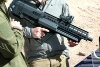 ISI's new Tavor TS12 semi-auto shotgun was the most radical-looking weapon at SHOT Show 2018's range day. (Photo by Matthew Cox/Military.com)