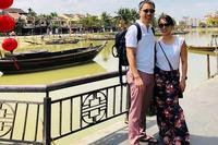 Navy Cmdr. Hien Trinh and his wife, Evelyne Vu-Tien, visit Danang, Vietnam, during the USS Carl Vinson's historic port call this month. (US Navy photo)