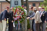 Past and present Paratroopers from the 82nd Airborne Division, representing every conflict the division fought in, present a wreath at the division's annual memorial ceremony. (US Army/Staff Sgt. Andrew T. Alfano, 82nd)