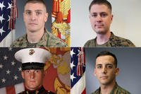 The Marines killed in a CH-53E Super Stallion crash in Southern California include, clockwise from top left, Gunnery Sgt. Derik R. Holley, First Lt. Samuel D. Phillips, Capt. Samuel A. Schultz, and Lance Cpl. Taylor J. Conrad. (U.S. Marine Corps photos)
