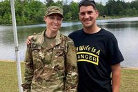 "Capt. Natalie Mallue (left) and her husband Capt. Edward Mallue (right) wearing a ""My Wife is a Ranger"" shirt, pose for a photo after Natalie successfully became the sixth female to graduate Ranger School, Fort Benning, Ga., April 28, 2017. Mallue is also the first female to hold both Ranger and Sapper tabs. (Courtesy Photo)"