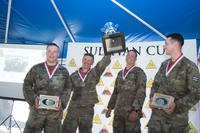 (Left to right) Pvt. Brandon Zacher, Cpl. Justin Harris, Staff Sgt. Johnathan Werner, and Pvt. Dekken Sanders of Bravo Company, 3rd Combined Arms Battalion, 67th Armor Regiment, 2nd Armored Brigade Combat Team, 3rd Infantry Division won the Sullivan Cup. The Sullivan Cup is a biennial competition to determine the top four-person tank crew in the world. (U.S. Army photo/Spc. Leo Jenkins)
