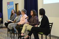 Tamara Rose Olson-Harper, Military Spouse Employment Partnership, speaks during the military spouse education and employment panel March 7, 2018, during the second annual Spouse Symposium at Dover Air Force Base, Del. (U.S. Air Force photo by Staff Sgt. Aaron J. Jenne)