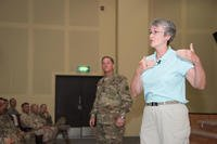 Secretary of the Air Force Heather Wilson, right, and Air Force Chief of Staff David L. Goldfein, center, speak with 386th Air Expeditionary Wing Airmen and joint coalition partners during a town hall event held at the base theater, Aug. 20, 2017, in an undisclosed location in Southwest Asia. (U.S. Air Force photo/Jonathan Hehnly)