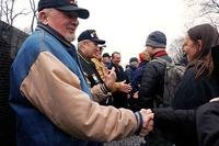 "Former Soldier Gale ""Caje"" Shire (left) leads a receiving line of the ""Currahee Brothers"" at the Vietnam Veterans Memorial in Washington, D.C., Feb. 19, 2018. (U.S. Army/Staff Sgt. Paige Behringer)"