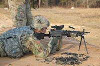 Pfc. Tyler Kramer, a mechanic with I Company, 3rd Combined Arms Battalion, 15th Infantry Regiment, 2nd Armored Brigade Combat Team, 3rd Infantry Division qualifies on an M249 Squad Automatic Weapon during a range Feb. 1, 2018 at Fort Stewart, Ga. (U.S. Army/Sgt. Ian Thompson)