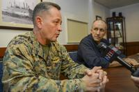 Brig. Gen. Rick Uribe, deputy commanding general, 1st Marine Expeditionary Force, answers questions from a KBPS reporter during a media day for Dawn Blitz 2017 (U.S. Navy/Mass Communication Specialist 2nd Class Donavan K. Patubo)