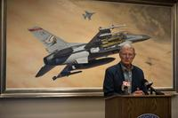Senator Jim Inhofe speaks with local reporters at a press conference held at the 138th Fighter Wing August 2, 2018 after announcing the passage of the John S. McCain National Defense Authorization Act. (U.S. National Guard/Staff Sgt. Rebecca R. Imwalle)