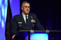 Gen. John E. Hyten, commander, U.S. Strategic Command talks integrated command relationships and the role of information and intelligence to the combatant commands during the 2018 Department of Defense Intelligence Information System Worldwide Conference August 13, 2018, in Omaha, Nebraska. (DoD photo/Brian Murphy)