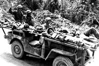 An ambulance jeep evacuates three wounded U.S. soldiers to a rear area field hospitalOn Okinawa, April 22, 1945. (Otis Historical Archives, National Museum of Health and Medicine)