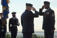 Air Force awarding combat medal.