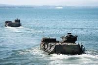 U.S. Marines with Company B, 3rd Amphibious Assault Battalion, 1st Marine Division, get travel in assault amphibious vehicles from Naval Amphibious Base Coronado to participate in the RIMPAC 2016 exercise. (Photo: Petty Officer 2nd Class Eric Cha)