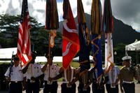 The U.S. Pacific Command joint service color guard participates in the 2016 Governor's Veterans Day Ceremony at the Hawaii State Veterans Cemetery in Kaneohe, Hawaii, Nov. 11, 2016. (U.S. Marine Corps photo/Staff Sgt. Jason W. Fudge)