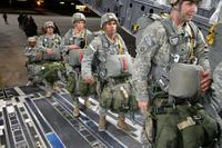 U.S. Army paratroopers from the 2nd Brigade Combat Team, 82nd Airborne Division, load onto a C-17 Globemaster III at Pope Army Airfield, North Carolina, Jan. 27, 2015, (U.S. Air Force photo/Marvin Krause)