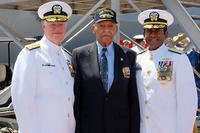 Adm. Gary Roughead and Vice Adm. Melvin Williams Jr. get acquainted with Dr. Lanier Phillips, a survivor of USS Traxtun (DD 229) at the commissioning of the sixth ship to bear that name, USS Truxtun (DDG 103). (U.S. Navy/MC1 Leah Stiles/Released)