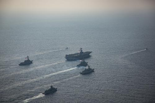 United States and the Republic of Korea Navy vessels participate in a photo exercise during Exercise Foal Eagle. The Carl Vinson Carrier Strike Group is on a western Pacific deployment as part of the U.S. Pacific Fleet-led initiative to extend the command and control functions of U.S. 3rd Fleet. (Z.A. Landers/U.S. Navy)
