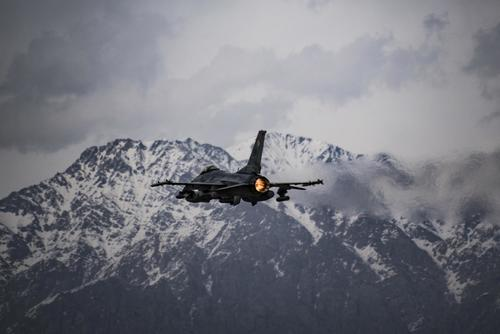 A U.S. Air Force F-16 Fighting Falcon takes off from Bagram Airfield, Afghanistan in support of Operation Freedom's Sentinel, March 23, 2018. (U.S. Air Force Courtesy Photo Edited by Tech. Sgt. Gregory Brook)