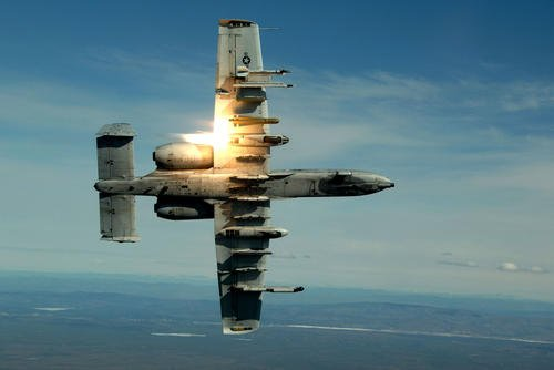 The A-10 Thunderbolt II most notably employs its GAU-8/A 30mm gun system, which produces an iconic sound that ground troops never forget. (US Air Force photo/Kenny Kennemer)