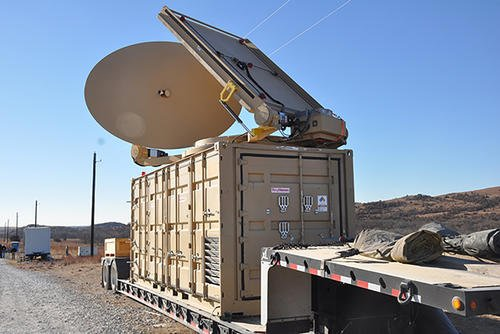 The directed energy system emits an adjustable energy beam that, when aimed at airborne targets such as drones, renders them unable to fly. (Photo: Monica K. Guthrie, PAO, U.S. Army)