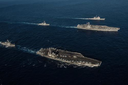 Ships with the Ronald Reagan Carrier Strike Group and John C. Stennis Carrier Strike Group transit the Philippine Sea during dual carrier operations. (U.S. Navy/Mass Communication Specialist 2nd Class Kaila V. Peters)