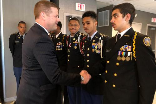 Under Secretary of the Army Ryan McCarthy shakes the hand of JROTC Cadet Gabrile Queslati during an Oct. 30 recruiting trip to Philadelphia. From the far left are Cadet Adam McAvoy, Cadet Jori Lemay, Cadet Aerron McKnight and Cadet Dominic Brown. (US Army photo/Beth Smith)