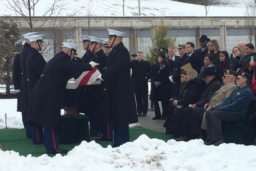 Retired Marine Staff Sgt. R. Lee Ermey is buried at Arlington National Cemetery, January 18, 2019. (Military.com/Oriana Pawlyk)