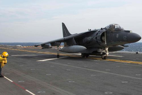 An AV-8B Harrier takes off from the flight deck of the amphibious assault ship USS Kearsarge in January 2015. Cpl. J.R. Heins/Marine Corps